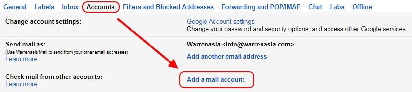 Gmail settings Accounts tab