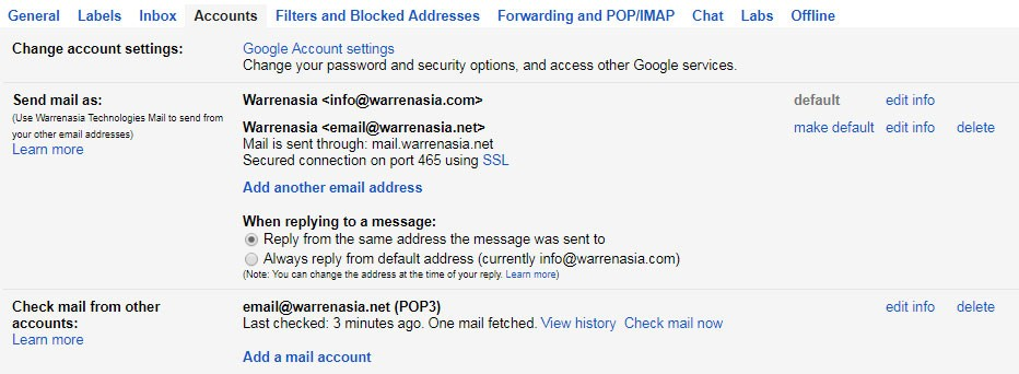Send mail as / Check mail from other accounts